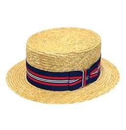 9617370b452 Straw boater with striped ribbon trim. Rabbit fur Homburg hat