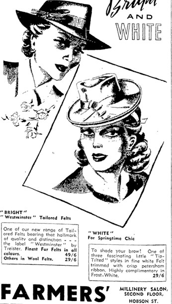 ae95331557d77 Farmers advertisement for Westminster tailored felt hats by Treister